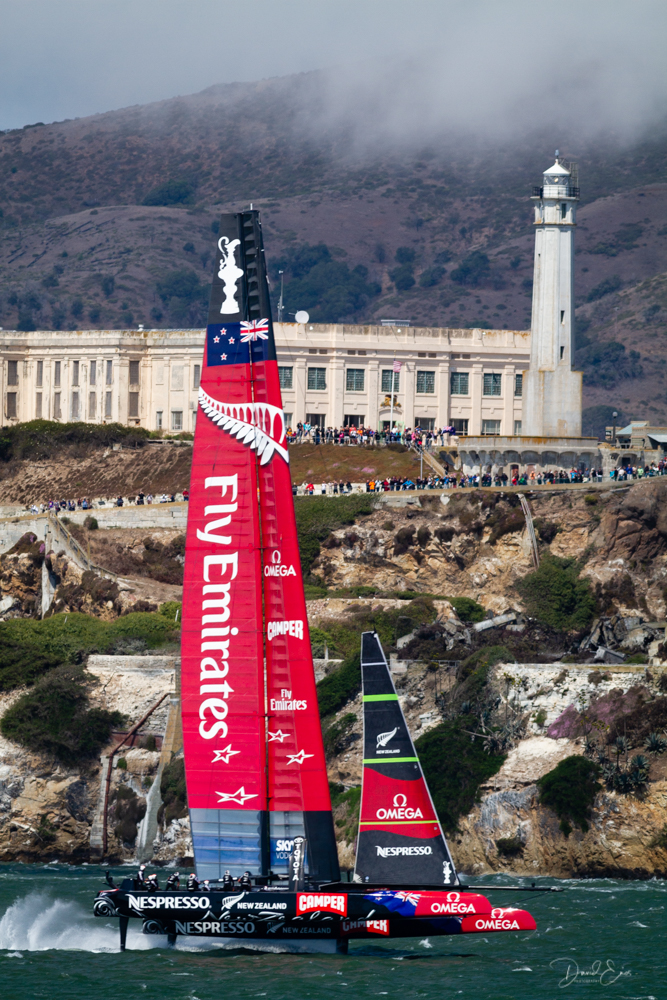 Oracle Team USA representing the Golden Gate Yacht Club, and the challenger Emirates Team New Zealand